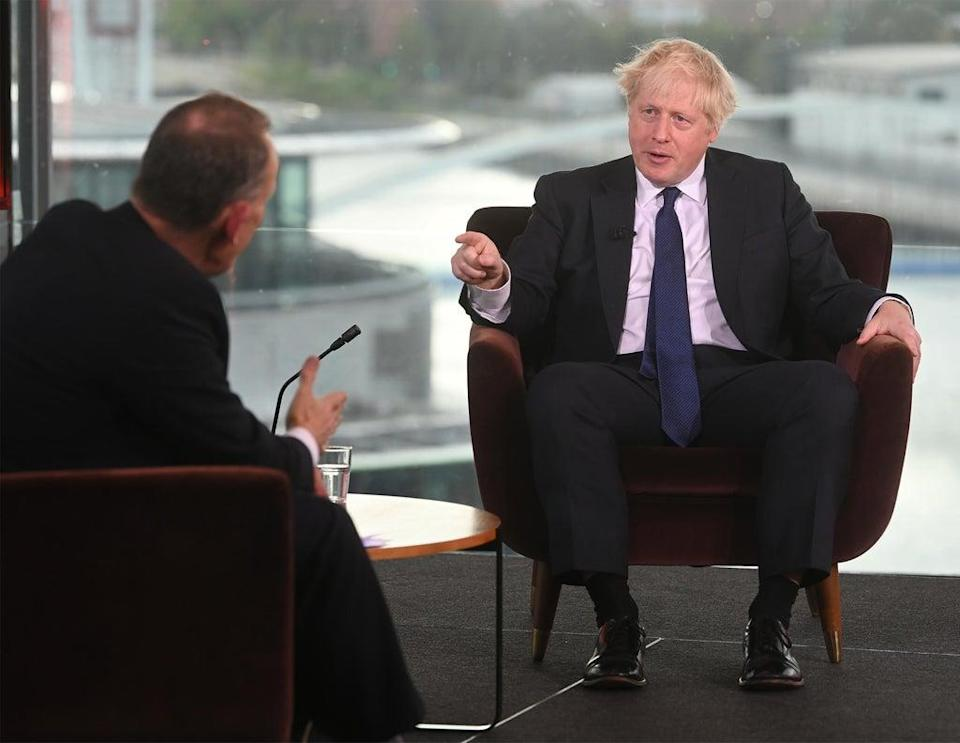 Boris Johnson facing questions on the BBC's The Andrew Marr Show (Jeff Overs/BBC/PA) (PA Media)