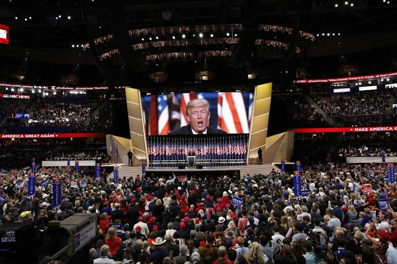 Donald Trump address on the final night of the 2016 Republican National Convention in Cleveland.