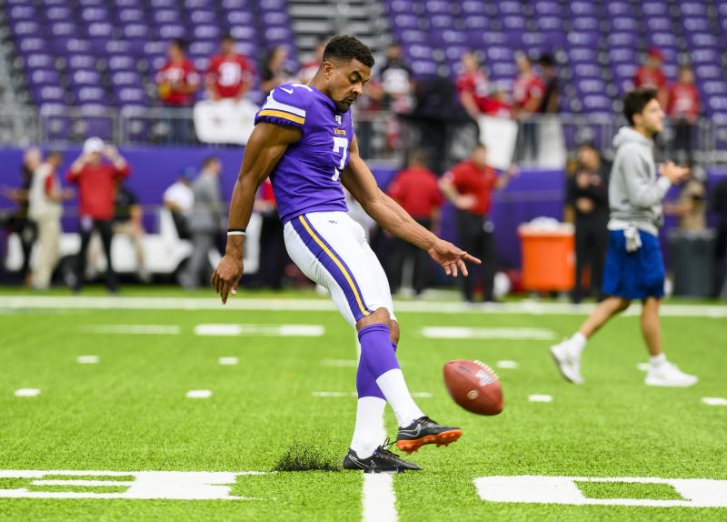 MINNEAPOLIS, MN - AUGUST 24: Kaare Vedvik #7 of the Minnesota Vikings kicks the ball before the preseason game against the Arizona Cardinals at U.S. Bank Stadium on August 24, 2019 in Minneapolis, Minnesota. (Photo by Stephen Maturen/Getty Images)
