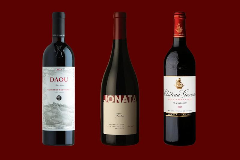 From left: 2014 Daou Reserve Cabernet Sauvignon ($60), 2014 Jonata Todos ($50), 2015 Château Giscours (about $65). | Courtesy of Daou, Jonata and Château Giscours