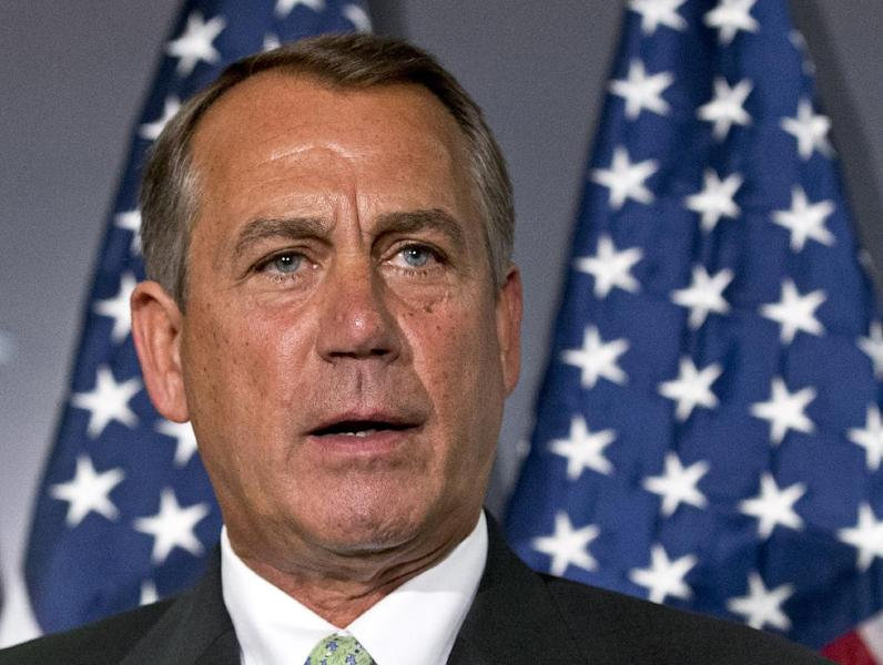 FILE - In this Feb. 26, 2013 file photo, House Speaker John Boehner of Ohio speaks on Capitol Hill in Washington. With across-the-board spending cuts all but certain, Republicans and Democrats in the Senate are staging a politically charged showdown designed to avoid public blame for any public inconvenience or disruption in government services that result. (AP Photo/J. Scott Applewhite, File)