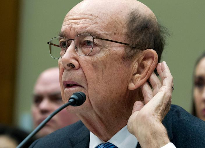 Commerce Secretary Wilbur Ross testifies during the House Oversight Committee hearing on Capitol Hill in Washington, Thursday, March 14, 2019. (Photo: Jose Luis Magana/AP)