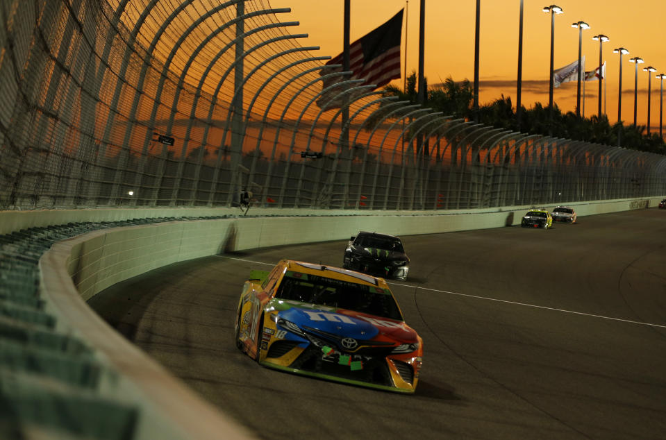 HOMESTEAD, FLORIDA - NOVEMBER 17: Kyle Busch, driver of the #18 M&M's Toyota, drives during the Monster Energy NASCAR Cup Series Ford EcoBoost 400 at Homestead Speedway on November 17, 2019 in Homestead, Florida. (Photo by Jonathan Ferrey/Getty Images)