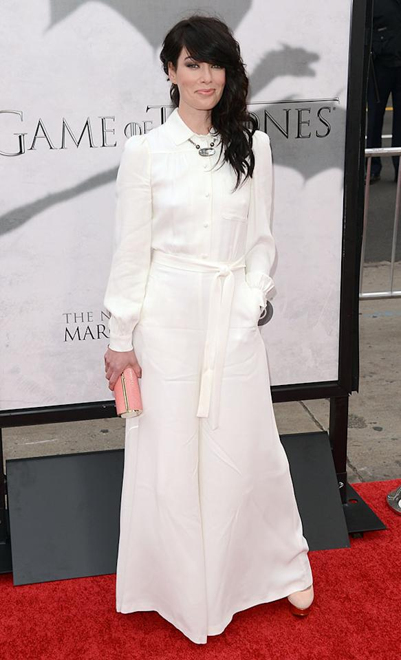 "Lena Headey arrives at the premiere of HBO's ""Game of Thrones"" Season 3 at TCL Chinese Theatre on March 18, 2013 in Hollywood, California."