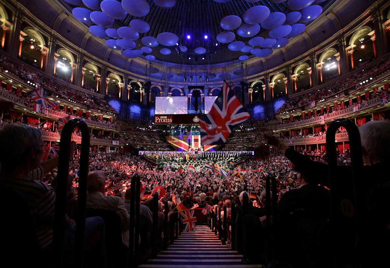 The audience enjoying the BBC Last Night of the Proms, at the Royal Albert Hall in London.