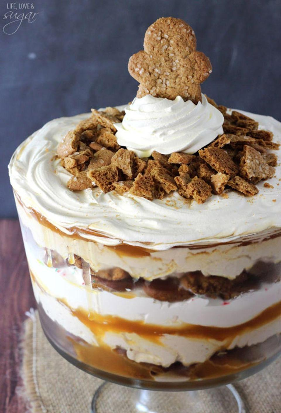 """<p>This holiday dessert is loaded with gingerbread cookies, a gingerbread cheese cake filling, <em>and </em>caramel sauce.</p><p><strong>Get the recipe at <a href=""""https://www.lifeloveandsugar.com/2014/12/10/gingerbread-cheesecake-trifle/"""" rel=""""nofollow noopener"""" target=""""_blank"""" data-ylk=""""slk:Life, Love and Sugar"""" class=""""link rapid-noclick-resp"""">Life, Love and Sugar</a>.</strong> </p>"""