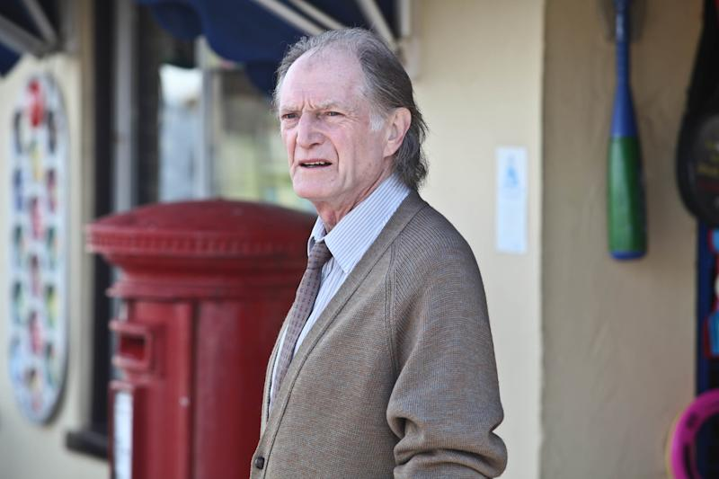 "This publicity image released by BBC America shows David Bradley as Jack Marshall in a scene from the series, ""Broadchurch,"" premiering Wednesday, Aug. 7, at 10:00 p.m. From the hit British series ""Broadchurch"" to ""Game of Thrones"" to ""An Adventure in Space and Time"" about the creation of ""Dr Who"", Bradley has had a busy year. Bradley attended the BBC America panel Thursday, July 25, to promote his role as, William Hartnell, the first actor to play Dr. Who, in a TV movie called ""An Adventure in Space and Time."" It will air in November coinciding with the 50th Anniversary of ""Dr Who."" (AP Photo/BBC America, Patrick Redmond)"