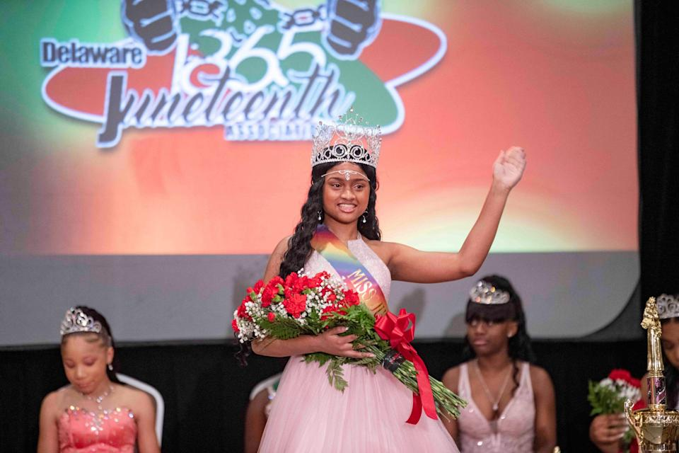 Sophia Hughes, 15, is crowned Miss Delaware Juneteenth in the Delaware Juneteenth Family Enrichment Program and Pageant at the DoubleTree Hilton Hotel Downtown in Wilmington on June 13, 2021.