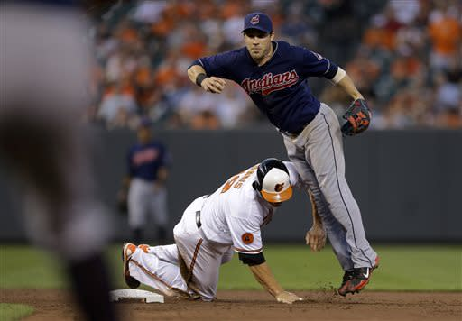 Baltimore Orioles' Chris Davis, bottom, breaks up a double play attempt by Cleveland Indians second baseman Jason Kipnis in the fifth inning of a baseball game, Tuesday, June 25, 2013, in Baltimore. J.J. Hardy was safe at first and Adam Jones scored on the fielder's choice play. (AP Photo/Patrick Semansky)