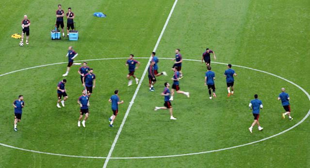 Soccer Football - World Cup - Spain Training - Kazan Arena, Kazan, Russia - June 19, 2018 General view during training REUTERS/Sergio Perez