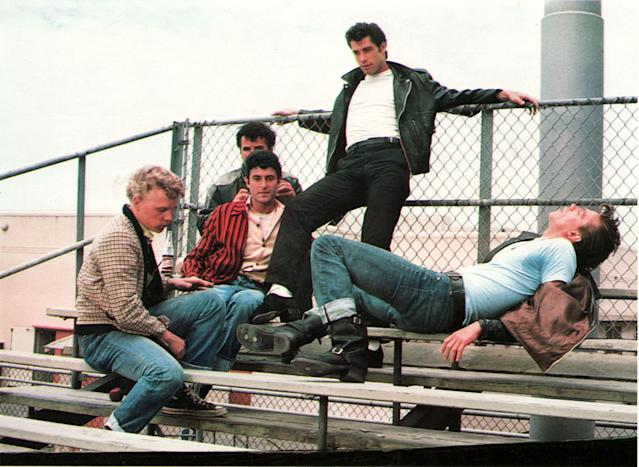 The T-Birds in <em>Grease:</em> from left, Kelly Ward as Putzie, Michael Tucci as Sonny, Barry Pearl as Doody, John Travolta as Danny, and Jeff Conaway as Kenickie. (Photo: Courtesy of Paramount c/o the Everett Collection)