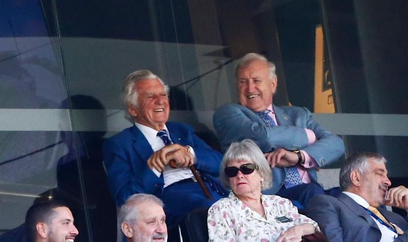 Former Australian Prime Minister Bob Hawke has died aged 89. He's pictured at the cricket Ashes test match at the Sydney Cricket Ground in January 2018.