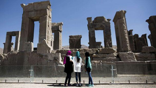 PHOTO: Iranian women look at the palace of King Darius of Achaemenid (522-486 B.C.) in the ancient Persian city of Persepolis near Shiraz in Iran on Sept. 26, 2014. (AFP via Getty Images, FILE)