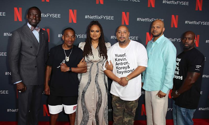 "LOS ANGELES, CALIFORNIA - JUNE 09: (L-R) Yusef Salaam, Korey Wise, Ava DuVernay, Raymond Santana, Kevin Richardson and Antron McCay attend Netflix's FYSEE event for ""When They See Us"" at Netflix FYSEE at Raleigh Studios on June 09, 2019 in Los Angeles, California. (Photo by David Livingston/Getty Images)"