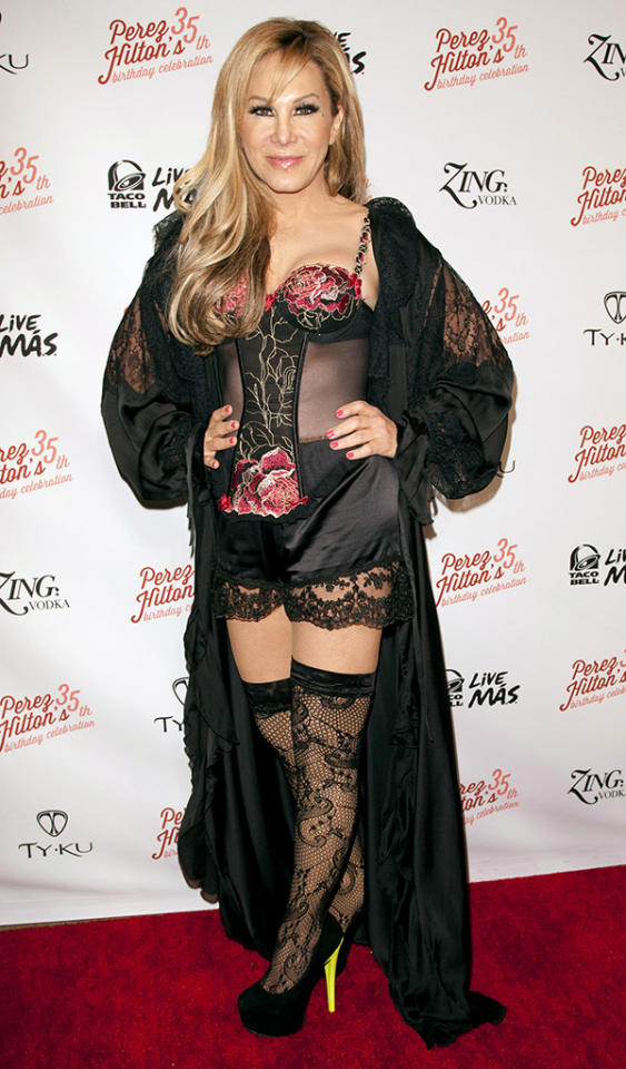 "Reality TV star Adrienne Maloof is having a rough March. First, Bravo fires her from ""The Real Housewives of Beverly Hills"" (she claims she left on her own accord). Then, she and her much younger boy toy Sean Stewart break up. Finally, she wears this trashy lingerie to Perez Hilton's 35th birthday/pajama party. And Ms. Maloof still has a few days left to embarrass herself this month! (3/23/2013)"