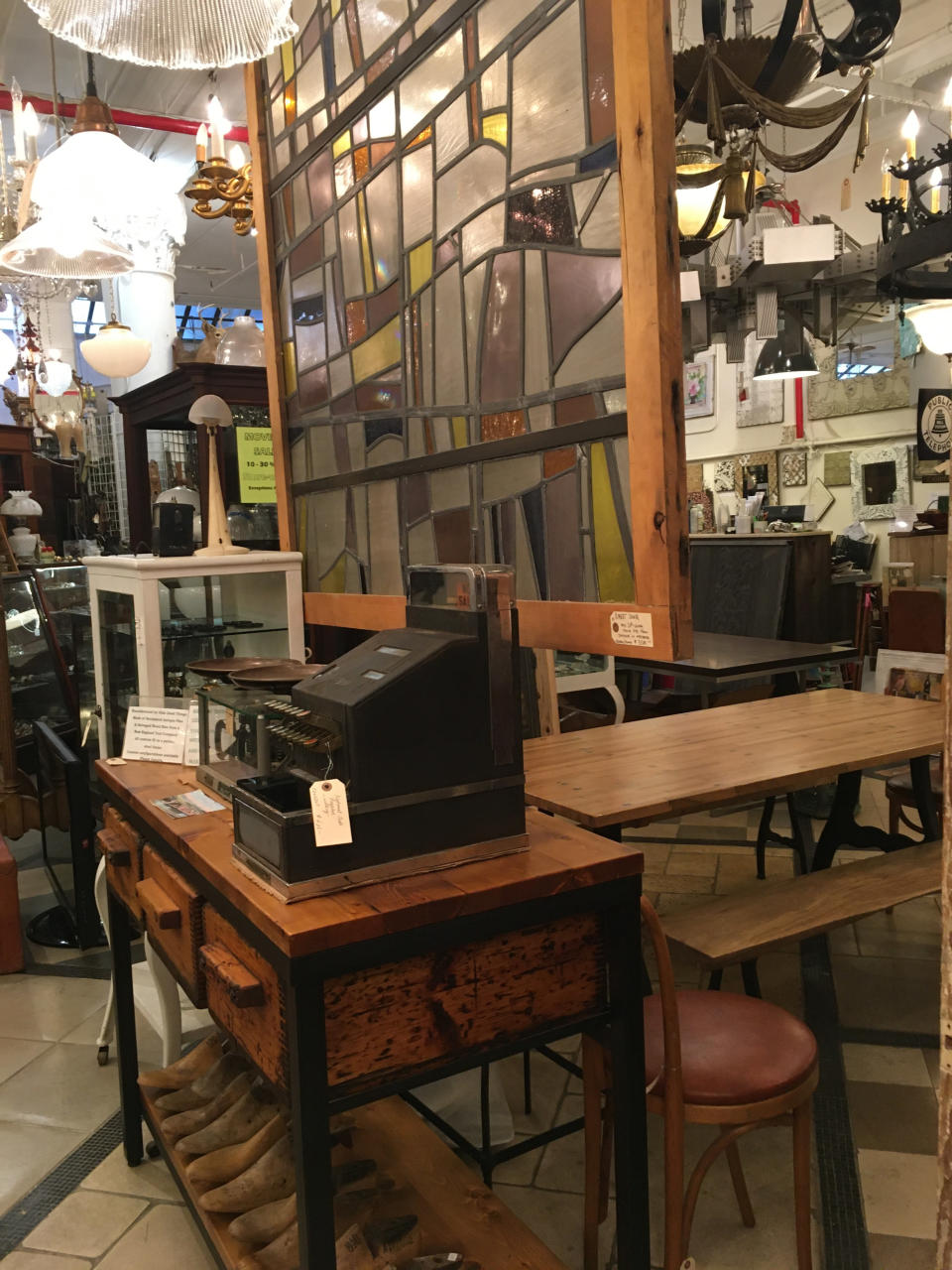 """This Oct. 15, 2019 photo shows various salvaged items for sale at Olde Good Things salvage store in New York. Two of the hottest trends in home decor are sustainability and authenticity. """"It's about both history and sustainability,"""" says Madeline Beauchamp of Olde Good Things, one of the oldest architectural salvage businesses in the country, with one shop in Los Angeles, another in Scranton, Pennsylvania, two stores in New York, and a flagship store to open soon in Midtown Manhattan. (Katherine Roth via AP)"""