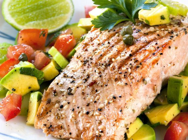 <b>Face-friendly food 4: Salmon</b><br>Oily fish is super skin-friendly as its rich in the essential lipids (fats) that the skin needs to be healthy. The fatty acid Omega 3 is your friend when it comes to maintaining a healthy and young-looking complexion as it maintains skin elasticity and works to keep cell membranes healthy. Other examples of oily fish include trout, mackerel, tuna, anchovies and sardines.