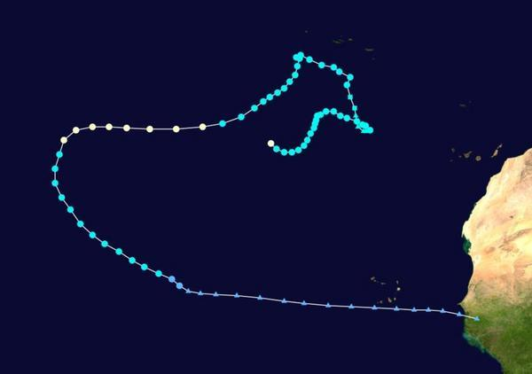 Nadine's long and winding path. Bright blue circles represent areas where it was a tropical storm. White circles: Category 1 hurricane. Blue squares and triangles show where it briefly dropped below tropical storm strength.