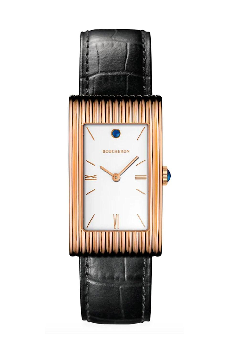 """<p><strong>Boucheron</strong></p><p>saksfifthavenue.com</p><p><strong>$16300.00</strong></p><p><a href=""""https://go.redirectingat.com?id=74968X1596630&url=https%3A%2F%2Fwww.saksfifthavenue.com%2Fproduct%2Fboucheron-reflet-18k-rose-gold-rectangular-alligator-strap-watch-0400011660367.html%3Fdwvar_0400011660367_color%3DROSE%2BGOLD&sref=https%3A%2F%2Fwww.townandcountrymag.com%2Fstyle%2Fjewelry-and-watches%2Fg36186288%2Fbest-rose-gold-watches-women%2F"""" rel=""""nofollow noopener"""" target=""""_blank"""" data-ylk=""""slk:Shop Now"""" class=""""link rapid-noclick-resp"""">Shop Now</a></p><p>The minimalist's take on the rose gold watch. </p>"""