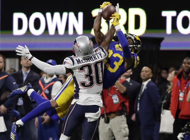 <p>New England Patriots' Jason McCourty (30) breaks up pass intended Los Angeles Rams' Josh Reynolds (83), during the first half of the NFL Super Bowl 53 football game Sunday, Feb. 3, 2019, in Atlanta. (AP Photo/Frank Franklin II) </p>