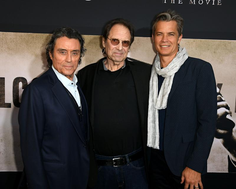 Ian McShane, left, David Milch and Timothy Olyphant arrive for the premiere of HBO's