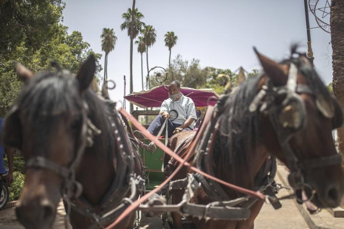 Mohammed El Garbouh, a horse carriage owner, waits for customers in the landmark Jemma el-Fnaa in Marrakech, Morocco, Wednesday, July 22, 2020. Morocco's restrictions to counter the coronavirus pandemic have taken a toll on the carriage horses in the tourist mecca of Marrakech. (AP Photo/Mosa'ab Elshamy)