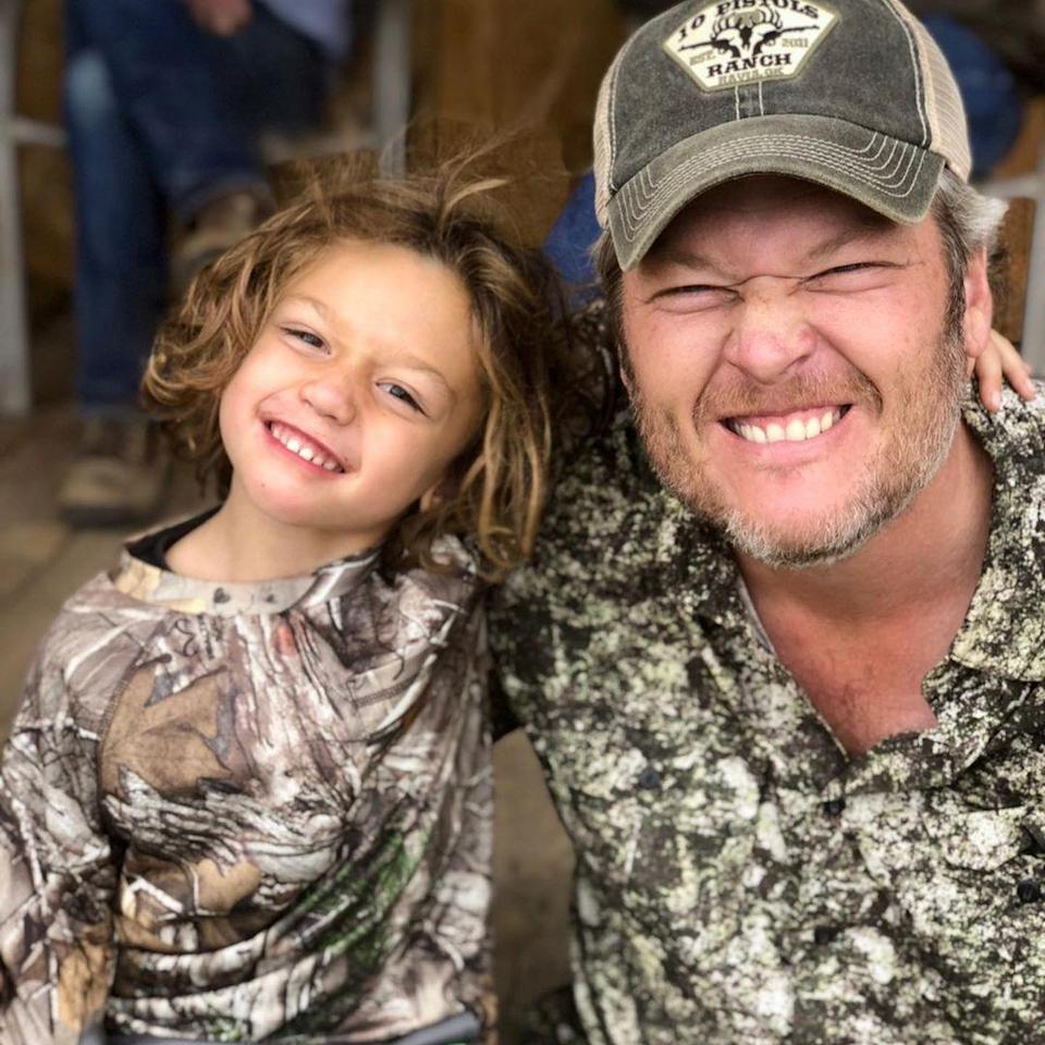 """<p>Apollo and Shelton — also dressed in matching camo outfits — <a href=""""https://www.instagram.com/p/CBtEbMcjot0/"""" rel=""""nofollow noopener"""" target=""""_blank"""" data-ylk=""""slk:smiled big for the camera"""" class=""""link rapid-noclick-resp"""">smiled big for the camera</a>. </p>"""