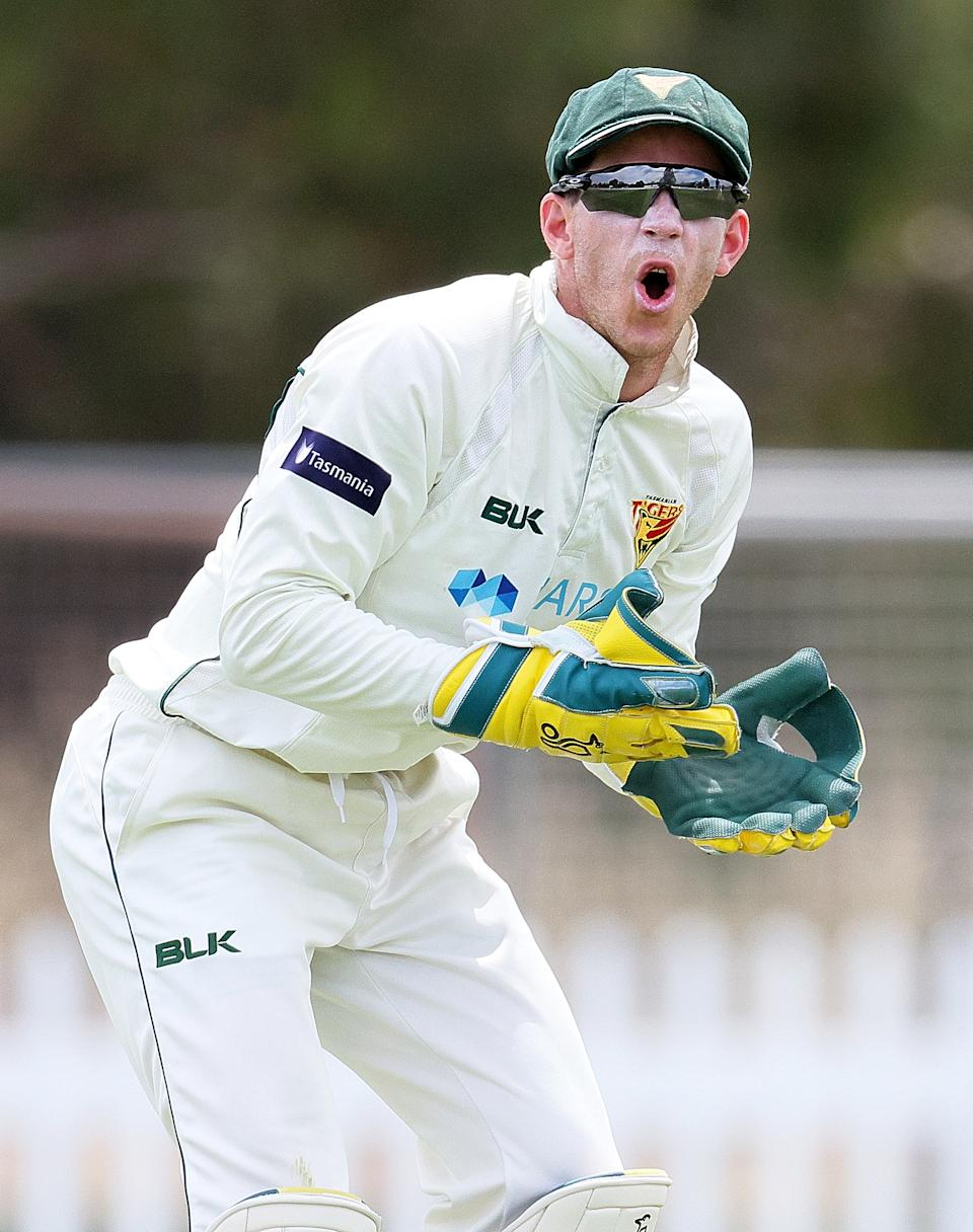 Tim Paine keeps wicket during day two of the Sheffield Shield match.