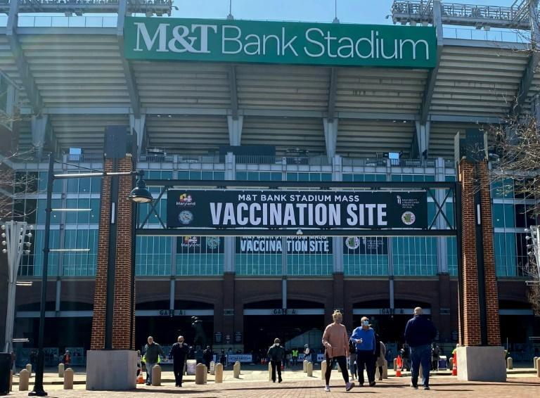 M&T Bank Stadium in the eastern US city of Baltimore is being used as a Covid-19 vaccination center
