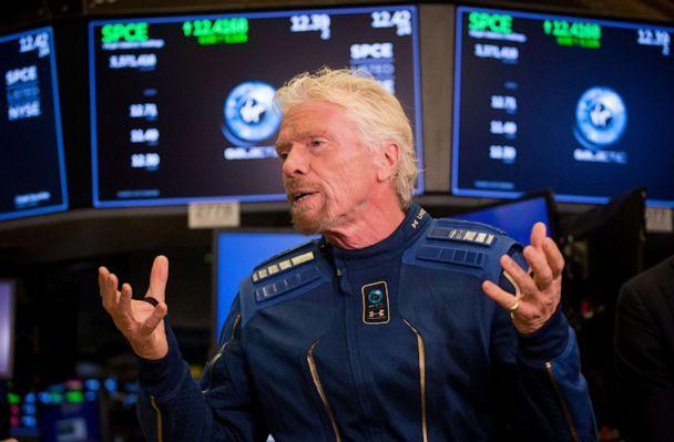 PHOTO: Richard Branson, founder of Virgin Group Ltd., speaks during an interview following VirginGalactic Holdings Inc.'s initial public offering on the floor of the New York Stock Exchange in New York, Oct. 28, 2019. (Bloomberg via Getty Images, FILE)