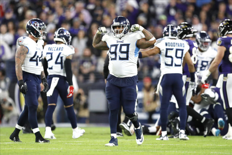 FILE — In this Jan. 11, 2020, file photo, Tennessee Titans defensive end Jurrell Casey celebrates after a play against the Baltimore Ravens during an NFL divisional playoff football game in Baltimore. The Titans won 28-12. The four-time Pro Bowler turned in one of the Titans' best playoff performances to put them into the AFC championship game. (AP Photo/Julio Cortez, File)
