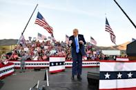 Donald Trump dancing on stage at the end of a rally in Carson City, Nevada, on October 18, 2020