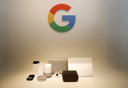 Google hardware products are displayed during a launch event in San Francisco, California, U.S. October 4, 2017. REUTERS/Stephen Lam