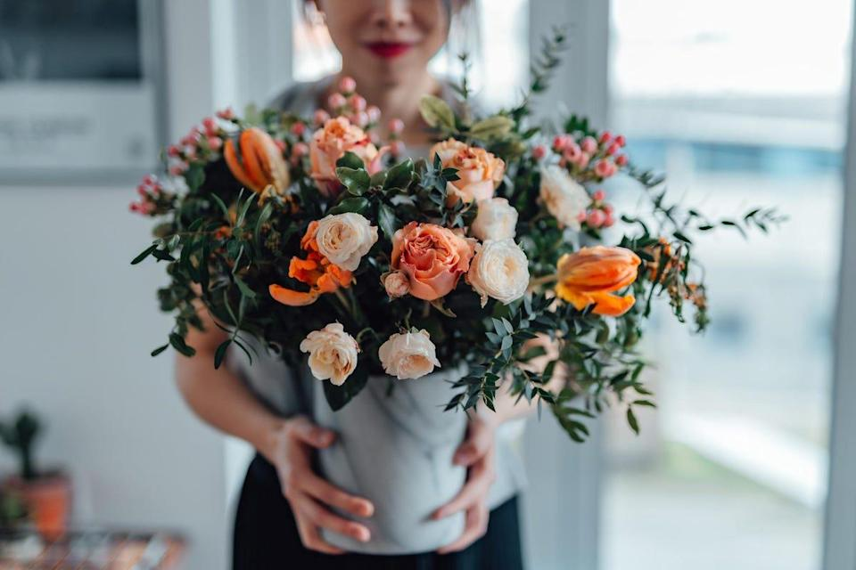 Flower bouquets and chocolates