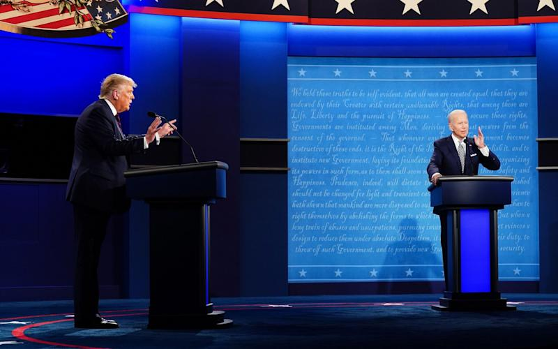 US President Donald J. Trump (L) and Democratic presidential candidate Joe Biden (R) participate in the first 2020 presidential election debate at Samson Pavilion in Cleveland, Ohio, USA, 29 September 2020. The first presidential debate is co-hosted by Case Western Reserve University and the Cleveland Clinic. First 2020 presidential election debate between US President Donald J. Trump and Democratic presidential candidate Joe Biden - EPA