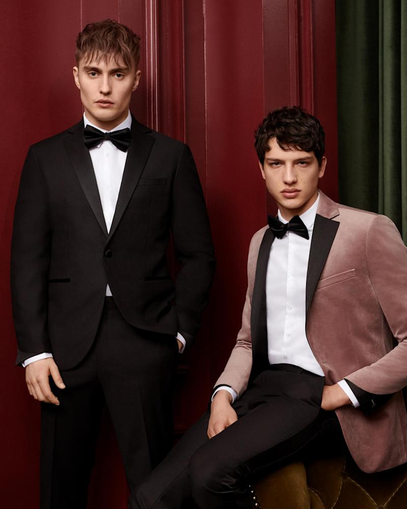 2 Piece Pink Velvet Slim Fit Tuxedo Suit £130 (Topman/ Buzz White )