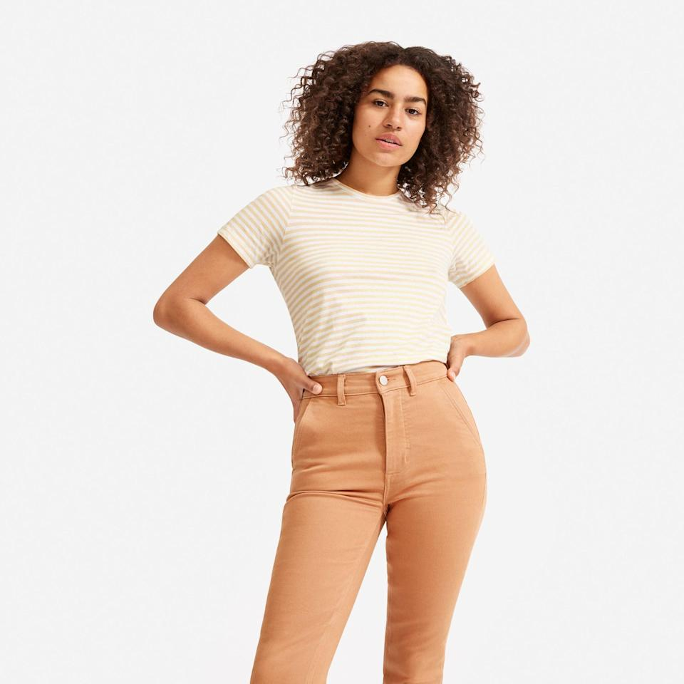 "<p><strong>everlane</strong></p><p>everlane.com</p><p><a href=""https://go.redirectingat.com?id=74968X1596630&url=https%3A%2F%2Fwww.everlane.com%2Fproducts%2Fwomens-cotton-crew-cashewwhitestripe&sref=https%3A%2F%2Fwww.cosmopolitan.com%2Fstyle-beauty%2Fg33369399%2Feverlanes-summer-sale%2F"" rel=""nofollow noopener"" target=""_blank"" data-ylk=""slk:Shop Now"" class=""link rapid-noclick-resp"">Shop Now</a></p><p><del>$20</del><strong><br>$16</strong></p><p>Everlane's summer sale is a great time to stock up on the basics, like a bunch of supah soft cotton tees.</p>"