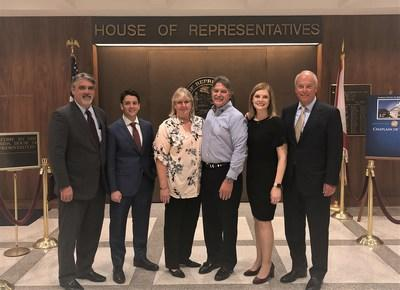 Attorneys David Bianchi, Michael Levine, and Stephen Cain of Stewart Tilghman Fox Bianchi & Cain, P.A. stand alongside Kathy Mears, Chief Legislative Affairs Officer for Florida State University and Tom and Sandy Coffey after amendments to Florida's Hazing Statute are passed in the Florida House of Representatives - March 11, 2019.