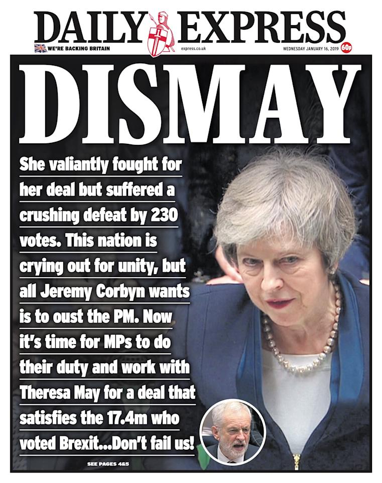 "<p>The Daily Express said it was a ""crushing defeat"" for Theresa May (Picture: Daily Express) </p>"