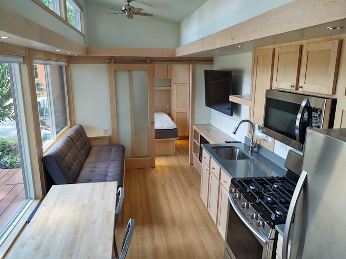 The inside of one of the tiny homes.