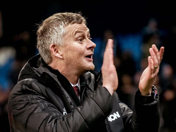 Ole Gunnar Solskjaer celebrates after victory in the Manchester derby (Getty)