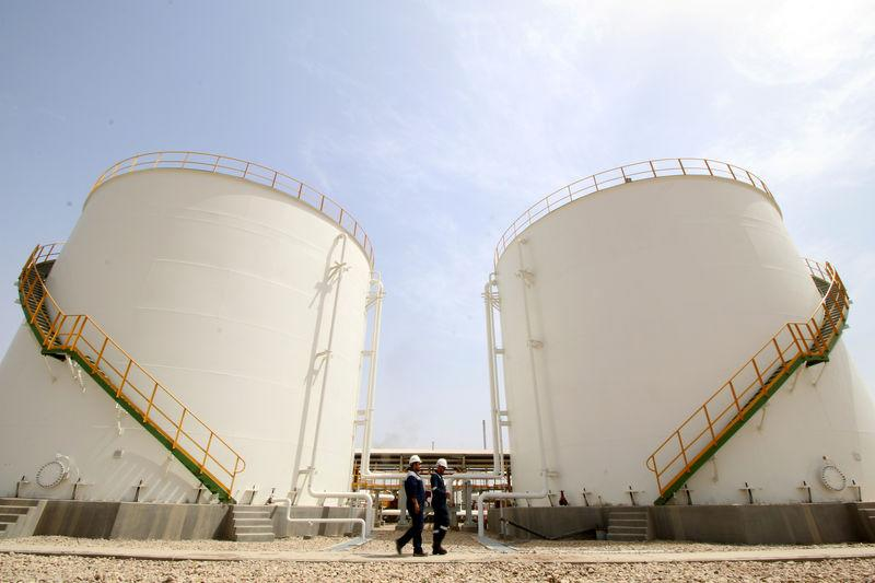 Oil tanks are seen at the gas field of Siba in Basra