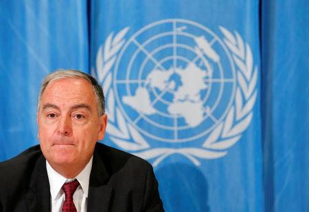 Panos Moumtzis U.N. humanitarian coordinator on the Syria crisis attends a news conference in Geneva