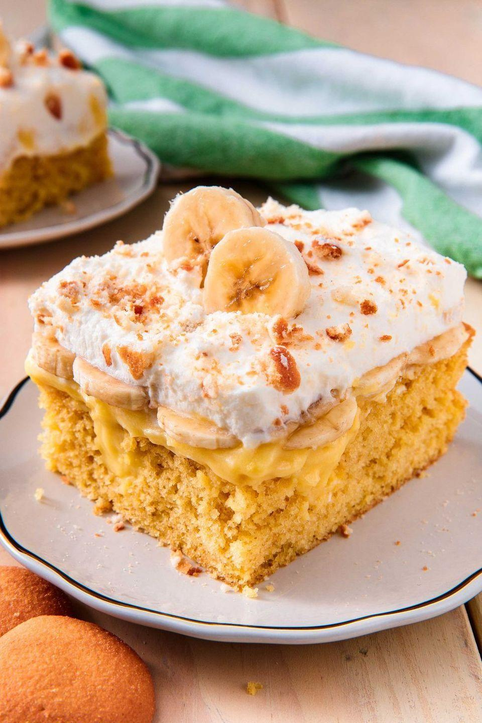 """<p>Pies aren't the only dessert to incorporate bananas into. <a href=""""https://www.goodhousekeeping.com/food-recipes/dessert/g757/cake-recipes/"""" rel=""""nofollow noopener"""" target=""""_blank"""" data-ylk=""""slk:This poke cake"""" class=""""link rapid-noclick-resp"""">This poke cake</a> is topped with a lattice layering of bananas. </p><p><a href=""""https://www.delish.com/cooking/recipe-ideas/recipes/a51407/banana-pudding-poke-cake-recipe/"""" rel=""""nofollow noopener"""" target=""""_blank"""" data-ylk=""""slk:Get the recipe from Delish »"""" class=""""link rapid-noclick-resp""""><em>Get the recipe from Delish »</em> </a></p>"""