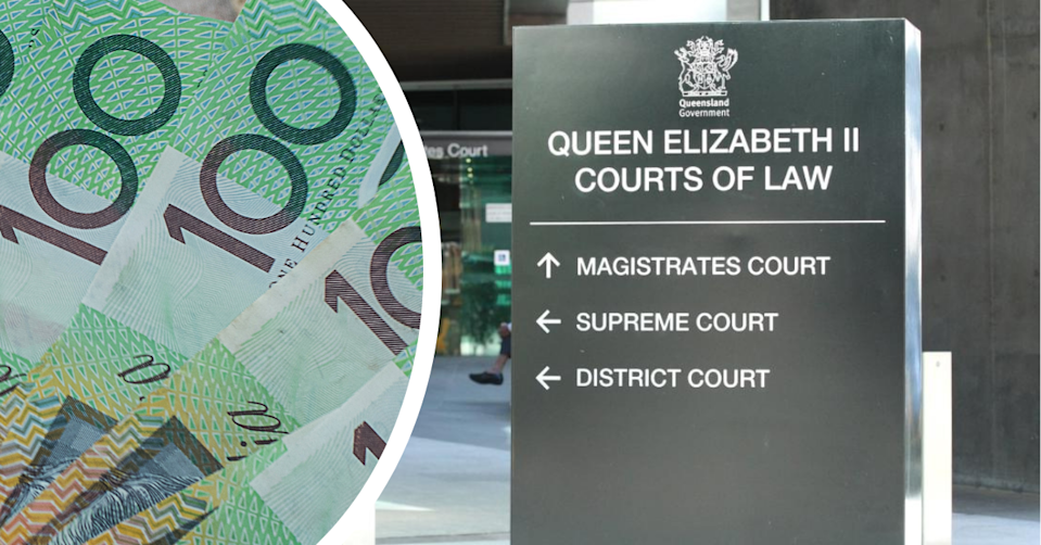 Queensland court building sign and $100 notes