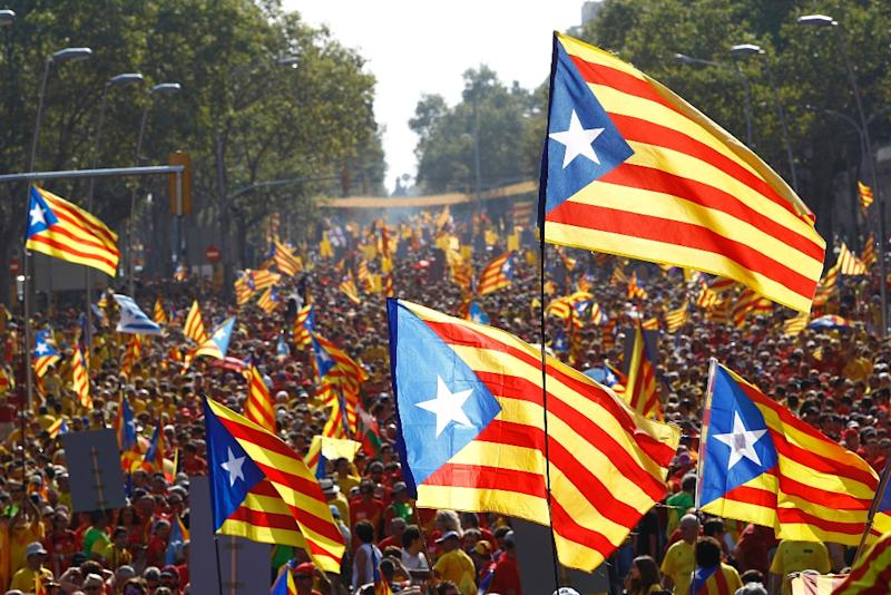 Catalans hold independence flags during celebrations for Catalonia National Day in Barcelona on September 11, 2014