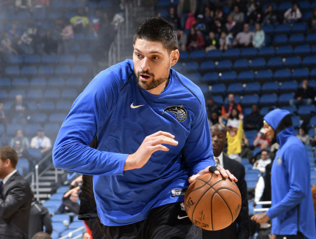 "<a class=""link rapid-noclick-resp"" href=""/nba/players/4897/"" data-ylk=""slk:Nikola Vucevic"">Nikola Vucevic</a> has averaged 17.8 points and 9.6 rebounds for the Magic this season. (Getty)"