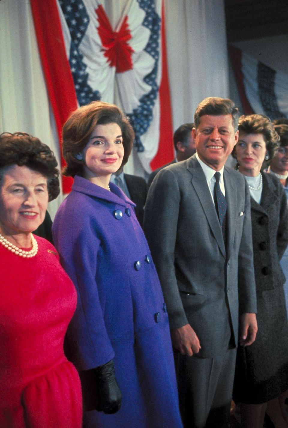 <p>Jackie joins her husband on-stage in Hyannis Port, Massachusetts the day after he was announced as the President-elect. The future First Lady was nine months pregnant with their son, John F. Kennedy Jr.</p>