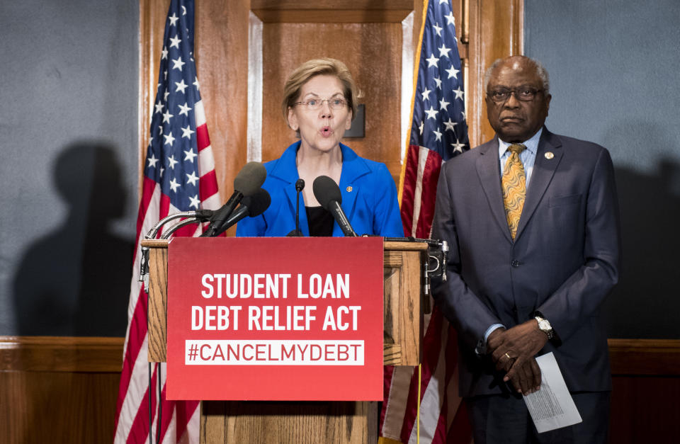 Sen. Elizabeth Warren, D-Mass., and House Majority Whip Jim Clyburn, D-S.C., hold a press conference in the Dirksen Senate Office Buidling to introduce the Student Loan Debt Relief Act to cancel student loan debt for millions of Americans on Tuesday, July 23, 2019. (Photo By Bill Clark/CQ Roll Call)