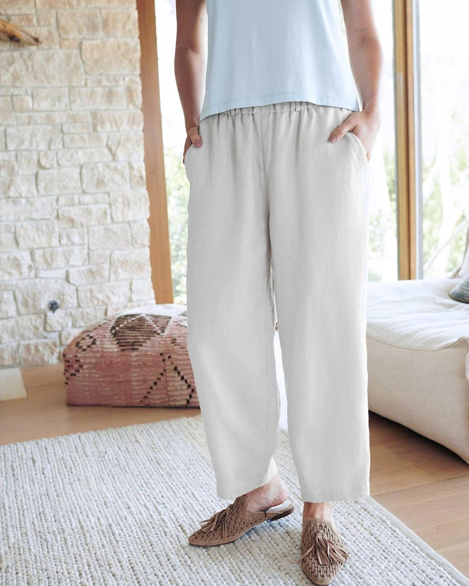 """<br><br><strong>Quince</strong> 100% Organic Linen Pants, $, available at <a href=""""https://go.skimresources.com/?id=30283X879131&url=https%3A%2F%2Fwww.onequince.com%2Fwomen%2Flinen-pants%3Fcolor%3Dwhite"""" rel=""""nofollow noopener"""" target=""""_blank"""" data-ylk=""""slk:Quince"""" class=""""link rapid-noclick-resp"""">Quince</a>"""